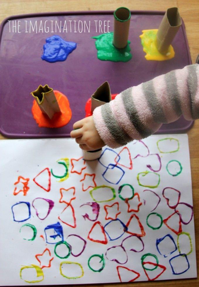 Cardboard tube shape printers for toddler art  (the Imagination Tree)