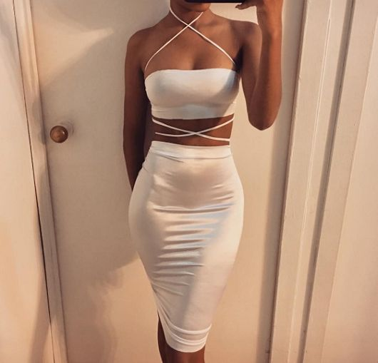 White Satin Two Pieces Set - Awesome World - Online Store  - 2