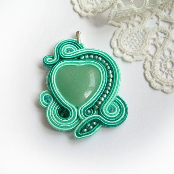 Mint green heart soutache pendant soutache jewelry for gift fantasy unique art fashion handmade beading
