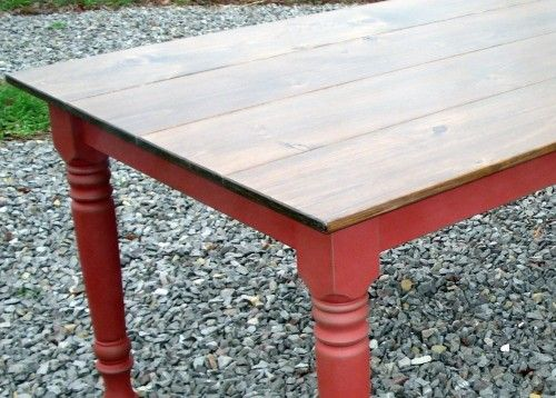 Dining Kitchen Farm Table - red and dark brown top??