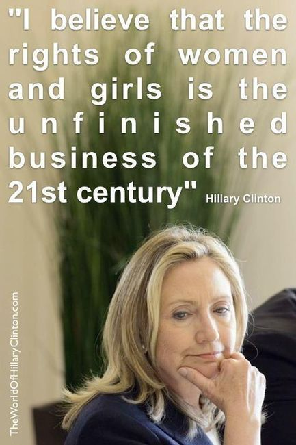 Hillary Clinton stands up or women and girls. #humarights
