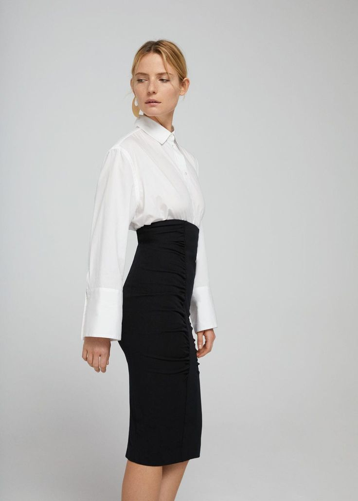 Falda tubo drapeada | MANGO