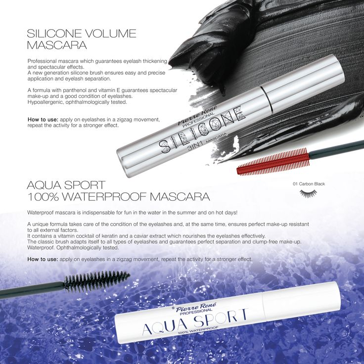 SILICONE Volume Mascara  Professional mascara which guarantees eyelash thickening and spectacular effects. A new generation silicone brush ensures easy and precise application and eyelash separation. A formula with panthenol and vitamin E guarantees spectacular make-up and a good condition of eyelashes. Hypoallergenic, ophthalmologically tested.  https://www.pierrerene.pl/en/kosmetyki/oczy/tusze/tusz-do-rz-s-aqua-sport-100-waterproof