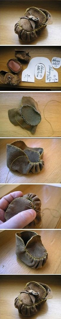 Mini Leather Moccasins – These would be great for the American girl dolls