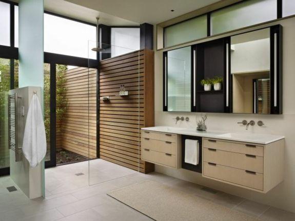 Perfekt Bodengleich Ebenerdige Dusche Moderne Duschkabine Bodenfliesen Holzwand