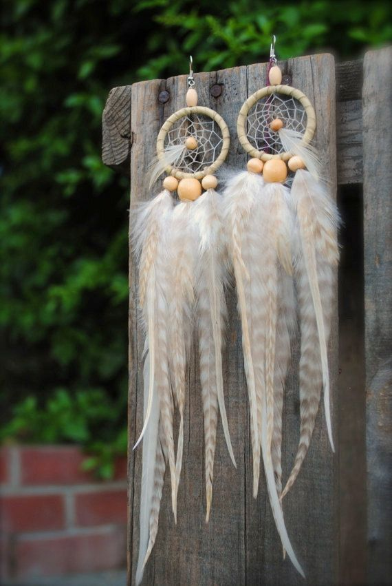 White Room Feather Dream Catcher Earrings by Shop,CaravanCurrent