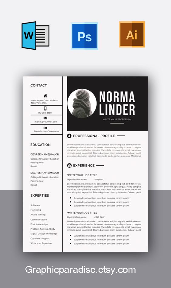 Resume template instant download, professional resume template.