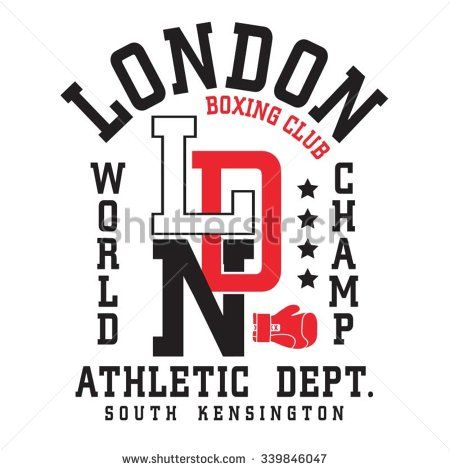 Athletic boxing london typography, t-shirt graphics, vectors
