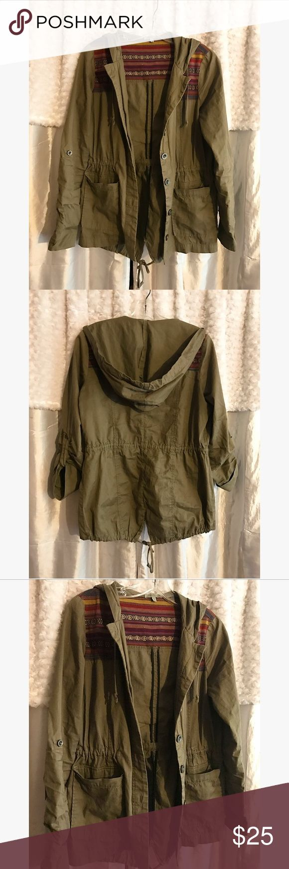 Green Utility Jacket Lightweight utility jacket featuring an Aztec/western pattern across the shoulders. Trendy and fun to add to an outfit! Perfect spring piece! Charlotte Russe Jackets & Coats Utility Jackets