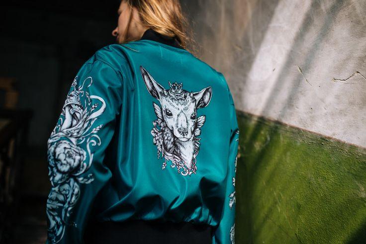 Green Bomber Jacket, Tattoo Style Bomber Jacket, Zip Front Jacket, Jacket with Deer Motif Back, Art Printed Satin Jacket, Unisex, Hipster by LikeShop2U on Etsy
