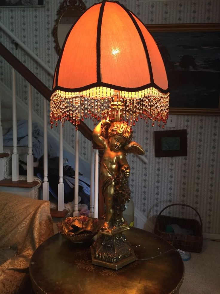 Huge Plaster Cherub Lamp With Orange Victorian Beaded Lampshade