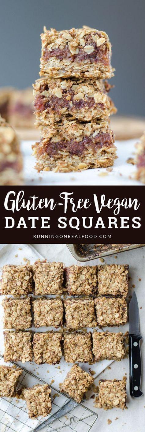 Glutenfreie vegane Dattelquadrate