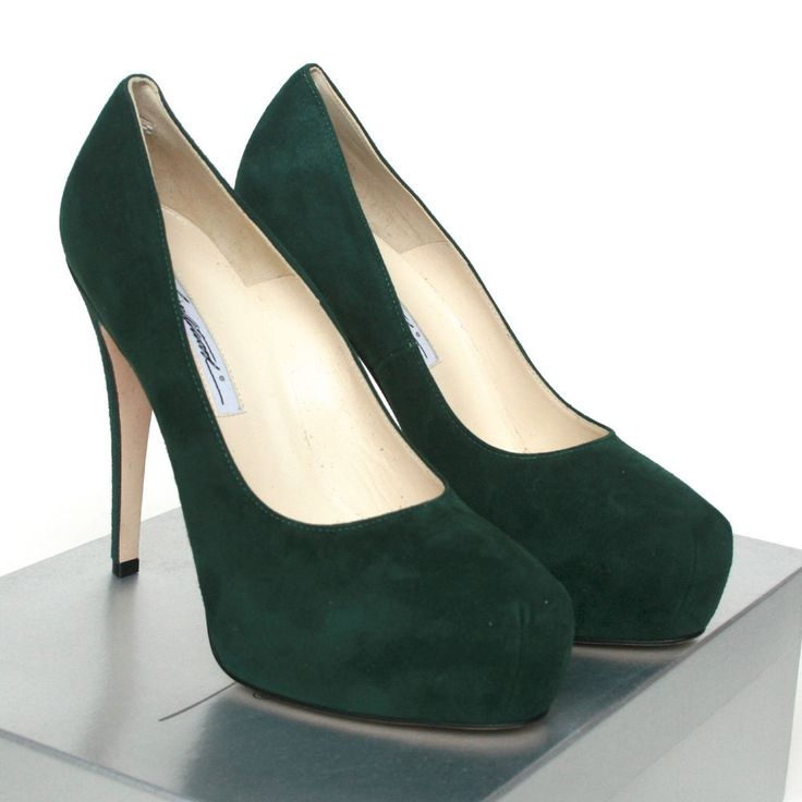 BRIAN ATWOOD $590 dark green suede shoes Manic platform high heel pumps 38.5 NEW #BrianAtwood #PumpsClassics