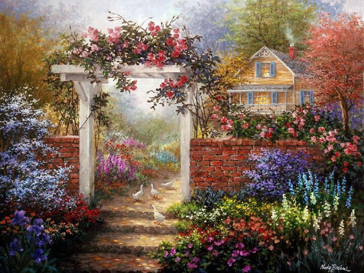171 best Paintings Cottages and Gardens images on Pinterest