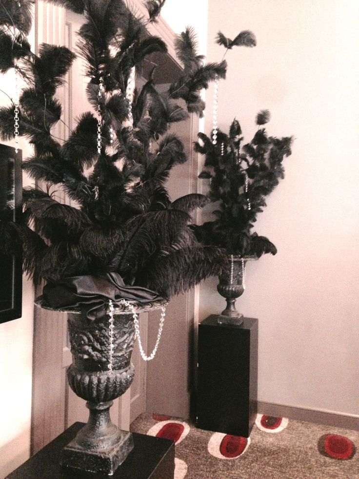 Black feathered urns for a costume themed event we did! #feathers #eventtheme #decoration #decor #eventdecor #melbourne #melbourneevents #melbournevenues #eventdesign #theme #themedecoration  - www.decorit.com.au (9)