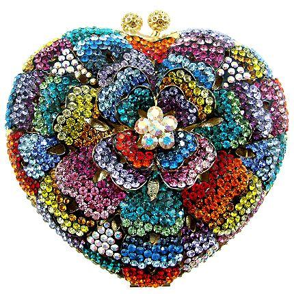 Butler & Wilson Crystal Heart Shape Flower Bag.
