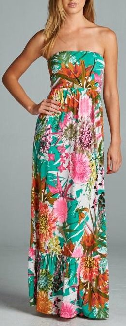 """The perfect tropical dress. Hawaiian printed strapless maxi dress. Seam detail on skirt. Length: 48"""". 95% Polyester, 5% Spandex. Made in USA."""