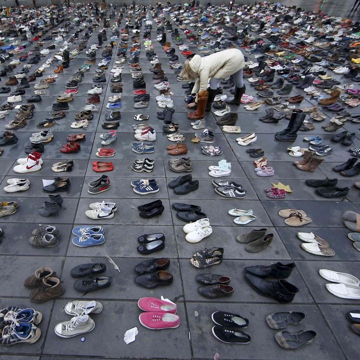 Pairs of shoes are symbolically placed on the #PlacedelaRepublique, after the cancellation of a planned #climatemarch following shootings in the French capital, ahead of the World Climate Change Conference 2015, in #Paris, Nov. 29, 2015. CREDIT: Eric Gaillard/Reuters  SEE MORE at ABCNews.com/photos #abcnews