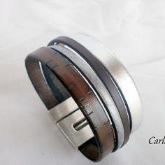Bracelet cuir homme marron brun argenté fermoir large manchette