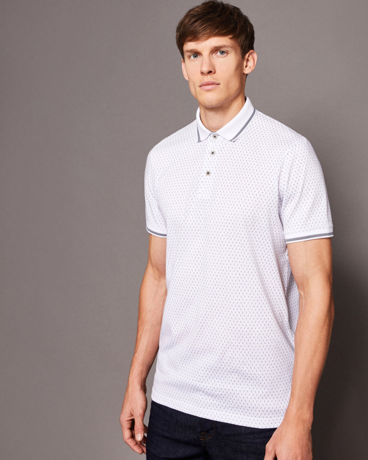 Geo print cotton polo shirt - White | Tops & T-shirts | Ted Baker