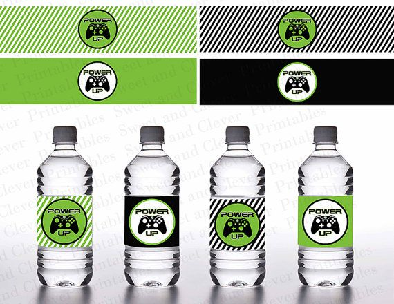 Video Game Themed  Water Bottle Label INSTANT by SweetandClever