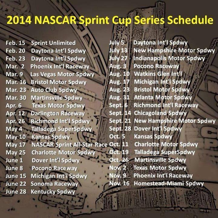 2014  NASCAR Sprint Cup Series Schedule #NASCAR