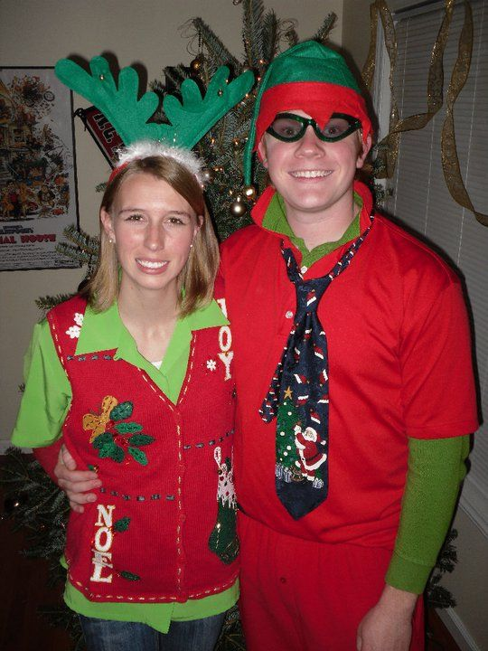 Tacky Christmas outfits | Davis and Kristin with some great tacky Christmas outfits!!