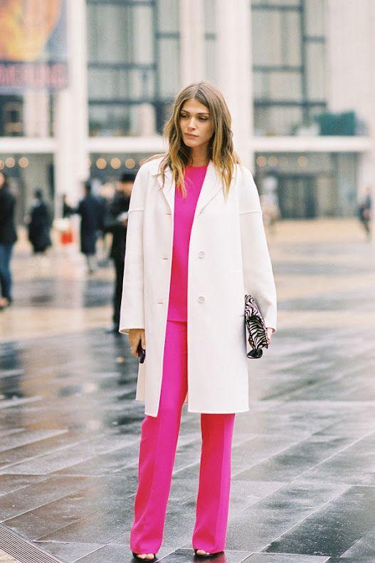 Pink dream: Fashion Weeks, Vanessa Jackman, Elisa Sednaoui, White Coats, Michael Kors, Street Style, Hot Pink, New York Fashion, Style Blog