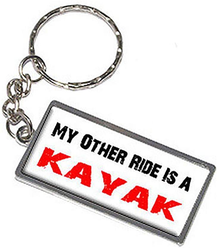 "Amazon.com: Unique & Custom 1 Single Medium Size ""Split"" Circle Keychain Ring Made of Chrome w/ Quirky Athletic Quote My Other Ride Is A Kayak Sports Design Charm Made of Metal {White, Red, Black & Silver}: Automotive"