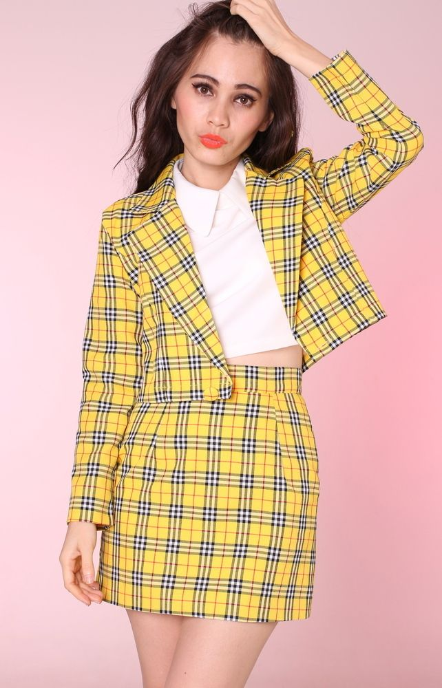 Yellow Tartan Cher Blazer | clueless halloween costume