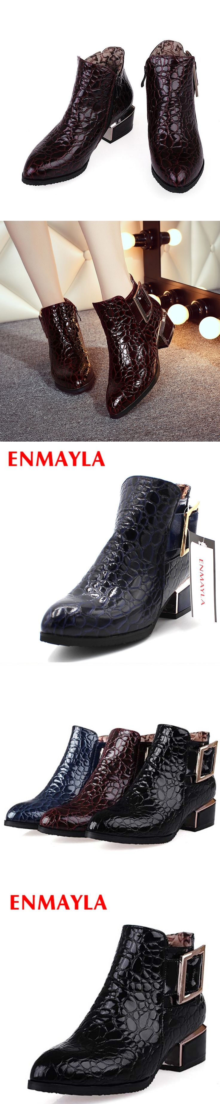 ENMAYLA New Ankle Boots Zip Fashion Autumn Winter Short Shoes Woman Boots Pointed Toe Metal Buckle Shoes Women Ankle Boots Sale