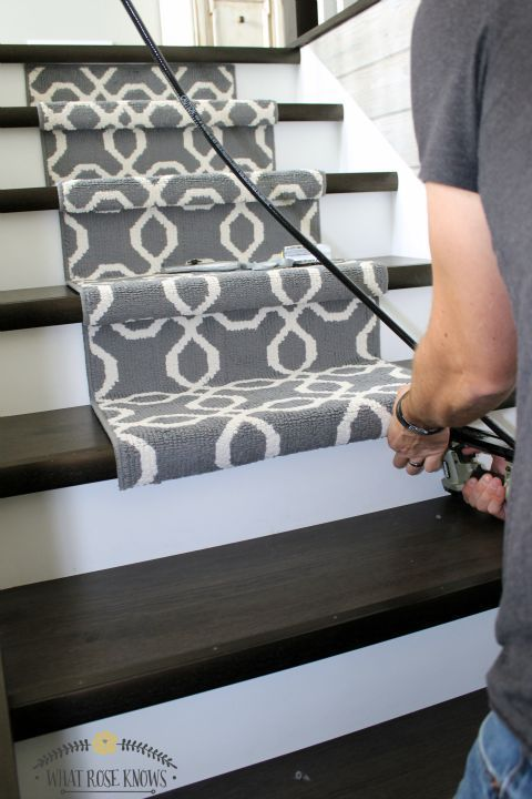 Add a carpet stair runner to your hardwood or laminate stairs for under $140 in just 40 minutes!