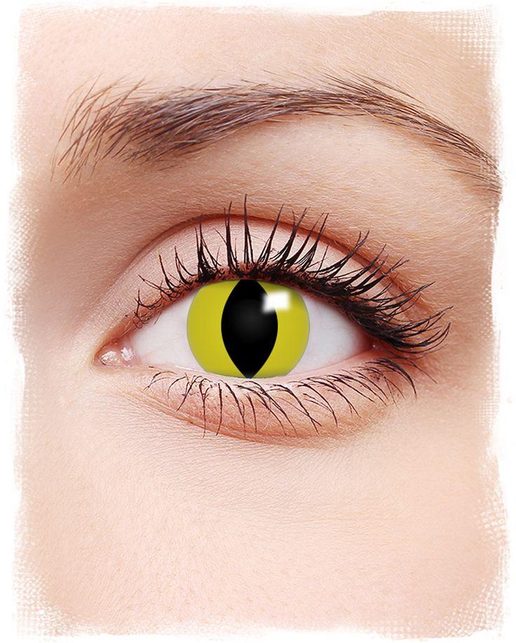 Kontaktlinsen gelbe Katzenaugen Motiv | #Kontaktlinsen #contacts #farbigeKontaktlinsen #coloredcontacts #halloweenmakeup