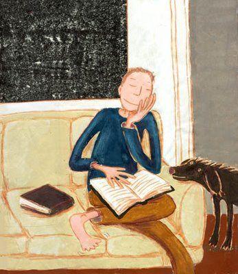 Nunca se pierde el tiempo con los libros (ilustración de Godeleine de Rosamel)