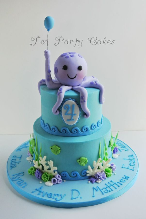 Birthday cake that I made for my friend's baby group that was celebrating their 4th birthdays. 6 and 8 inch buttercream cakes with fondant decorations and white chocolate coral. I was running out of time getting this one done so I ended up piping all the names on the board instead of using tappits as planned. TFL!