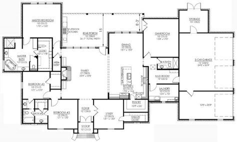 653730 3 Bedroom French Country Plan With An Office And