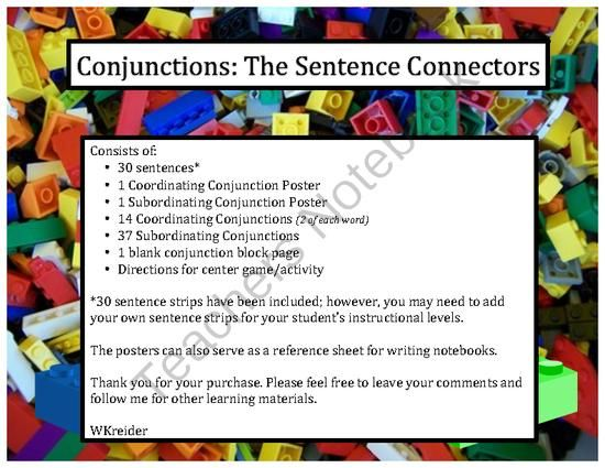 Conjunctions: The Sentence Connectors! A great center or whole class activity