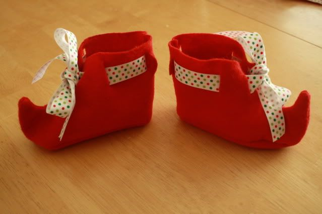 Garden Gnome Pointy Shoes- easy version, but also links to a more difficult version which is where the pattern is. She used just a single layer of felt and cut slits to thread ribbon so they can tie on- doesn't have to be a perfect fit.