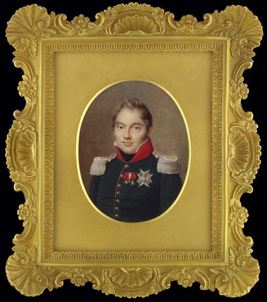Portrait miniature of Charles-Ferdinand d'Artois, Duc de Berry (Duke of Berry) (1778-1820), wearing green uniform with red collar and gold lace, with the star of the Order of the St Esprit and other official badges including the Order of the Legion d'Honneur (1820 France) JEAN-BAPTISTE JACQUES AUGUSTIN, AND STUDIO (1759-1832)