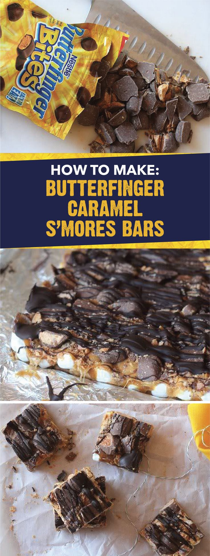 Rather than make s'mores at your next bonfire, bake this recipe for Butterfinger Caramel S'mores Bars. This flavorful dessert is filled with crispety, crunchety, peanut-buttery BUTTERFINGER® Bites, caramel bits, mini marshmallows, graham crackers and more! Click here for step-by-step instructions on how to make this tasty treat.