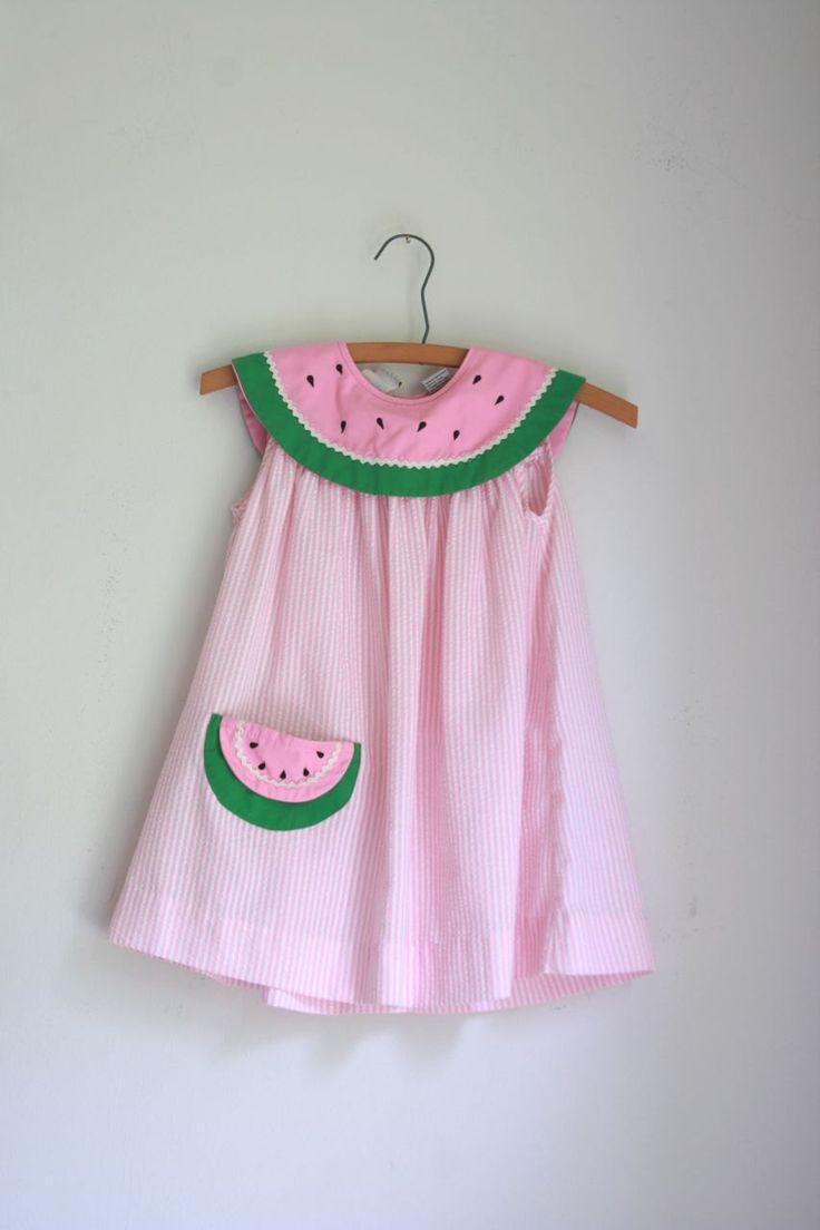 Vintage Girls Dress Summer Watermelon 4/5T