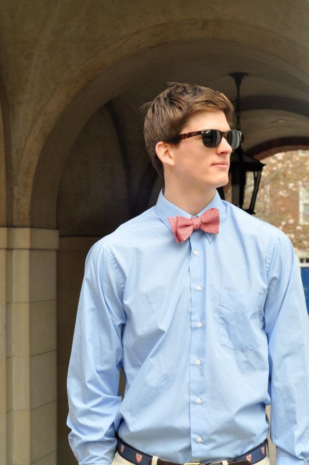 The Vineyard Vines Harvard bowtie in Pink and belt in Navy. Modeled by Harvard student Petr.  #Harvard #VineyardVines