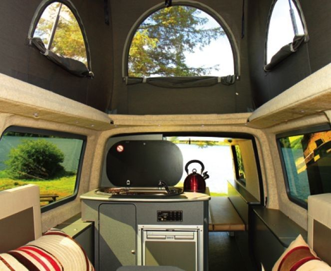 interior of the vw with a doubleback extension pod