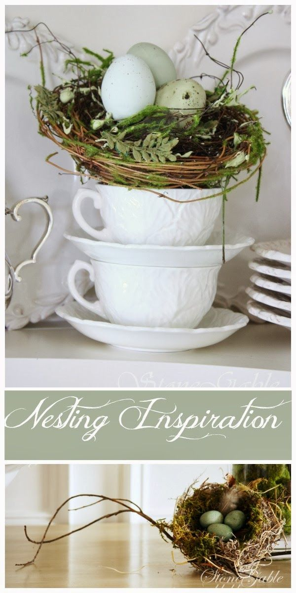 Lots of Spring nest ideas. How to use them, how to decorate with them.