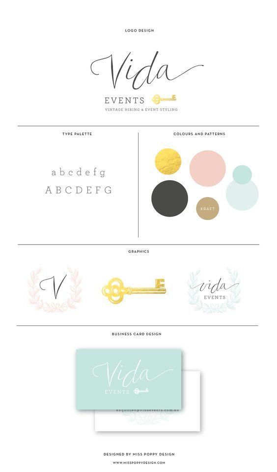 Miss Poppy Design- Vida Events    Branding   Logo   Brand Board   Vintage   Gold   Logo Design: