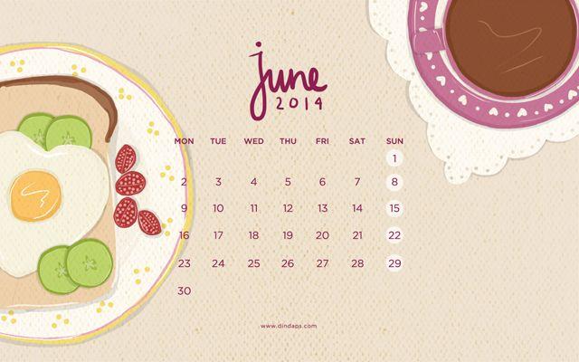 June 2014 Wallpaper Calendar - a Lovely Breakfast