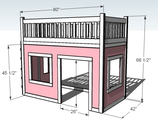 Ana white build a playhouse loft bed free and easy diy for Playhouse diy plans