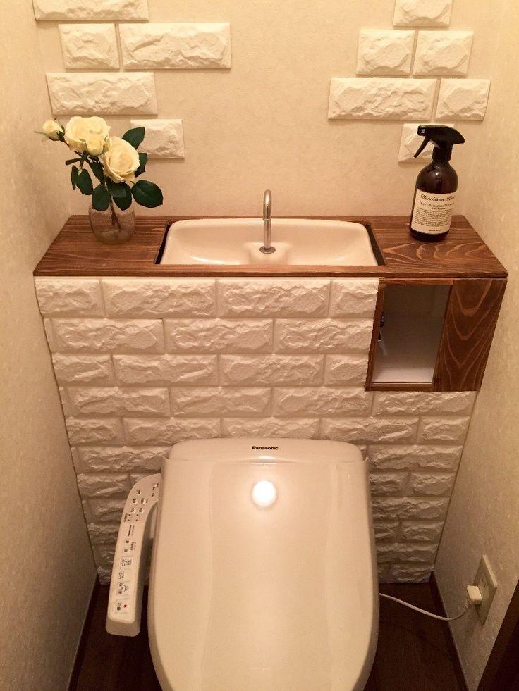 賃貸アパートのトイレをタンクレス風にDIYしました。山善のドリームクッションレンガという商品でレンガ風にしています。