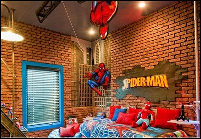 Spiderman Home Decoration Superhero Decoration Ideas for Boy's Room. Especially love the light fixture