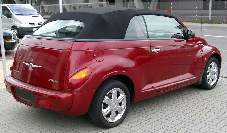 Chrysler PT Cruiser Convertible in red with black top. Have it and love it